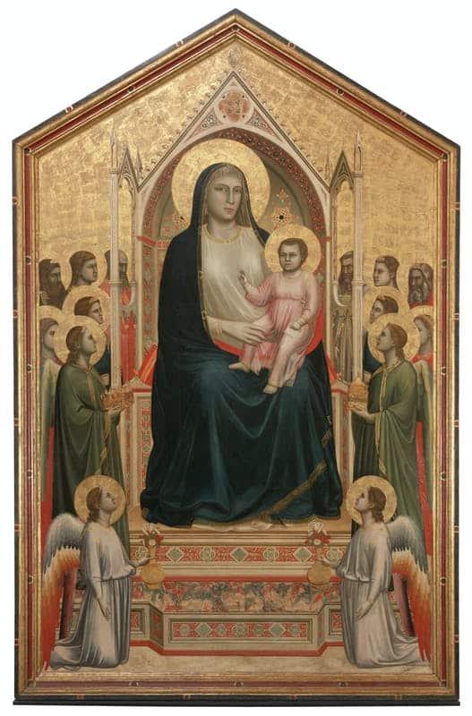 ジョット・ディ・ボンドーネ『荘厳の聖母(オニサンティの聖母)〈ウフィツィ美術館〉』,Madonna col Bambino in trono, angeli e santi (Maestà di Ognissanti),Giotto,Galleria degli Uffizi
