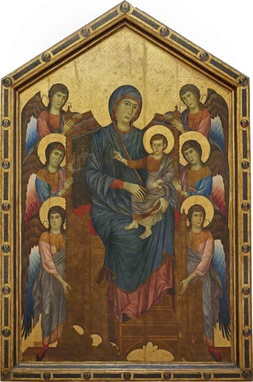 チマーブエ,六人の天使に囲まれた荘厳の聖母,La Vierge et l'enfant en majesté, entourés de six anges,Musée du Louvre