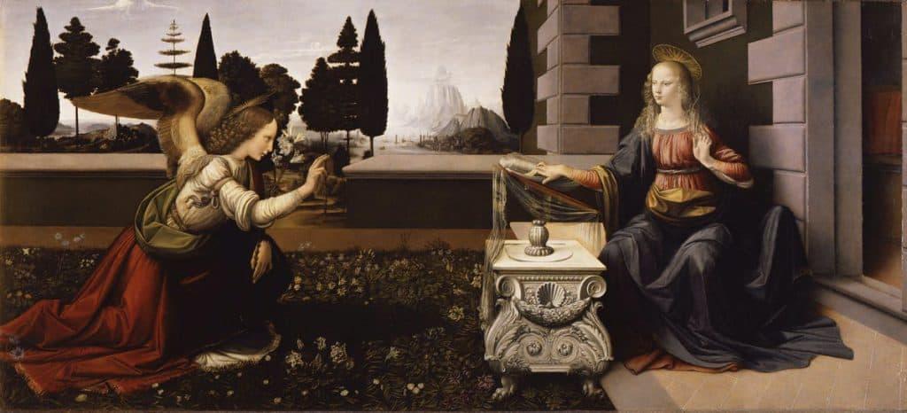 受胎告知,Annunciazione,Annunciation, Leonardo da Vinci,レオナルドダヴィンチ,Gli Uffizi,ウフィツィ美術館